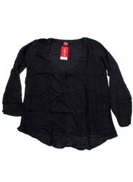 Top y Blusas Hippie Boho Ethnic - Blusa de algodón creppe BLEV02 - Modelo Negro
