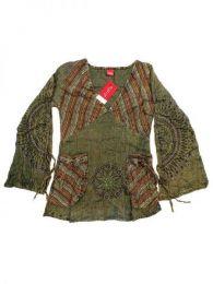 Blusa hippie de algodón Mod Verde