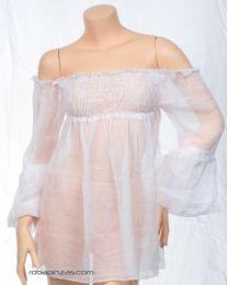 Camisetas Blusas y Tops - Blusa fina lisa. algodón, BLHC03 - Modelo Blanco