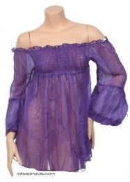 Camisetas Blusas y Tops - Blusa fina lisa. algodón, BLHC03 - Modelo Morado