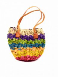 Colored raffia bag with handle, to buy wholesale or detail in the category of Women's Hippie Clothing | ZAS Alternative Store. [BOEA02]