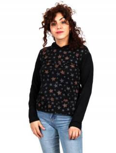 T-shirt with stars and hood [CACEV06]. Long Sleeve T-shirts to buy wholesale or detail in the category of Hippie Clothing for Women.