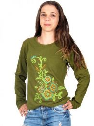 Long Sleeve T-shirts - M Long Embroidered T-shirt [CAEV05] to buy wholesale or detail in the category of Alternative Hippie Clothing for Women.