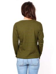 T-shirt manica lunga - T-shirt a righe in cotone CAEV17.