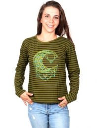 Long Sleeve T-shirts - Striped T-shirt with Embroidered Moon [CAEV17] to buy wholesale or detail in the category of Alternative Hippie Clothing for Women.