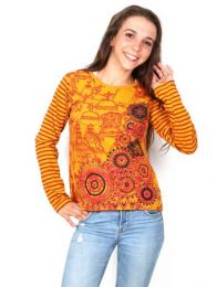 Long Sleeve T-shirts - T-shirt with Embroidery and Tibet print [CAEV19] to buy in bulk or in detail in the category of Alternative Hippie Clothing for Women.