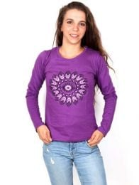 Long Sleeve T-shirts - T-shirt with Printed Ethnic Flower [CAEV20] to buy wholesale or detail in the category of Alternative Hippie Clothing for Women.