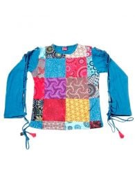 Long Sleeve T-shirts - T-shirt with patchwork front CAHC12 - Model Blue