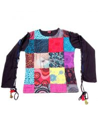 Long Sleeve T-shirts - T-shirt with patchwork front CAHC12 - Model Black