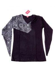 Camisetas de Manga Larga - Camiseta con frontal y manga CAHC13 - Modelo Negro