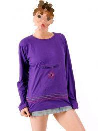 Long Sleeve T-shirts - T-shirt with front pocket [CAHC14] to buy wholesale or detail in the category of Alternative Hippie Clothing for Women.