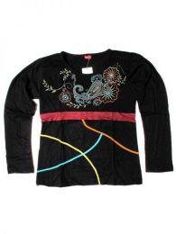 Camiseta flores bordadas. Mod Negro