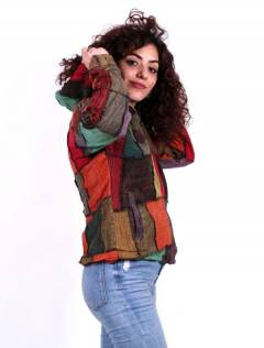 Patchwork jacket with hood, to buy wholesale or detail in the Hippie Women's Clothing category | ZAS Alternative Store. [CHEV26]