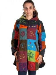 Rounded patchwork hippie coat. [CHHC19]. Jackets and Coats to buy wholesale or detail in the category of Hippie Women's Clothing | ZAS Alternative Store.