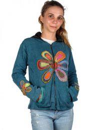 Chaquetas/ Abrigos - Sudadera Hippie Flor [CHHC33] para comprar al por mayor o detalle  en la categoría de Ropa Hippie Alternativa para Mujer.