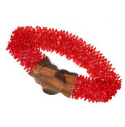 cinturón cuentas colores. Mod Rojo