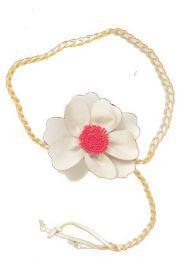 cinturón flor cuero Mod Blanco