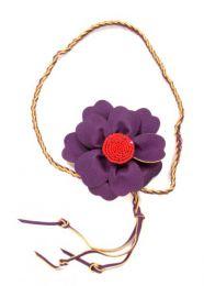 cinturón flor cuero Mod Morado