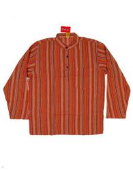 Long M Hippies Shirts - CLEV02 Cotton Shirt - Orange Model