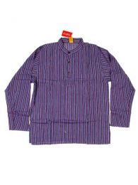 Long M Hippies Shirts - CLEV02 Cotton Shirt - Purple Model