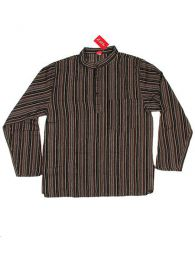 Hippies Long M Shirts - CLEV02 Cotton Shirt - Brown Model