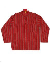 Long M Hippies Shirts - CLEV02 Cotton Shirt - Red Model