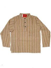 Camisas Hippies M Larga - Camisa de algodón de CLEV02 - Modelo Natural