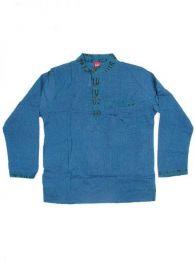 Camisas Hippies M Larga - Camisa de algodón de CLEV04 - Modelo Azul