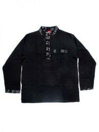 Camisas Hippies M Larga - Camisa de algodón de CLEV04 - Modelo Negro