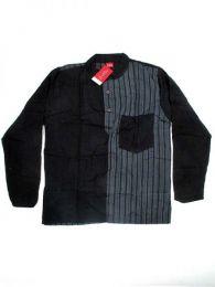Camisas Hippies M Larga - Camisa de algodón combinado CLEV05 - Modelo Negro
