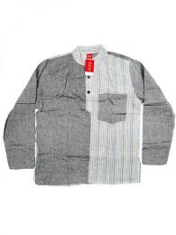 Camisa de algodón combinado Mod Gris