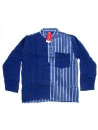 Camisa de algodón combinado Mod Azul