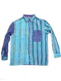 Camisas Hippies M Larga - Camisa de rayas patchwork CLEV06B - Modelo Azul