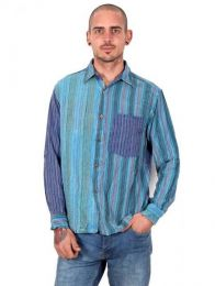 Camisas Hippies M Larga - Camisa de rayas patchwork CLEV06B.