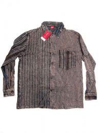 Camisas Hippies M Larga - Camisa de rayas patchwork CLEV06B - Modelo Negro