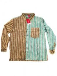 Camisas Hippies M Larga - Camisa de rayas patchwork CLEV06B - Modelo Verde
