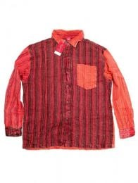 Camisas Hippies M Larga - Camisa de rayas patchwork CLEV06B - Modelo Rojo