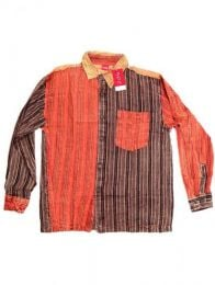 Camisas Hippies M Larga - Camisa de rayas patchwork CLEV06B - Modelo Naranja