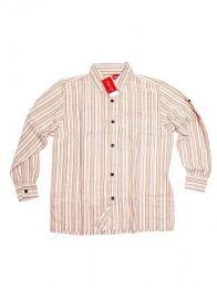 Hippies M Long Shirts - Cotton striped shirt CLEV07 - Beige Model