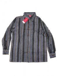 Shirts Hippies M Long - Cotton striped shirt CLEV07 - Black Model 2