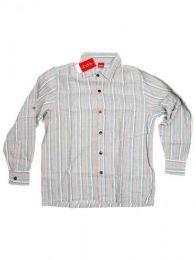 Hemden Hippies M Lang gestreiftes Baumwollhemd CLEV07 - Graues Modell