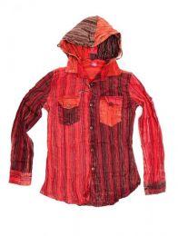 Camisa hippie listrada de manga comprida com capuz, para compra no atacado ou detalhe na categoria Bohemian Hippie Fashion Accessories | ZAS. [CLEV07B]