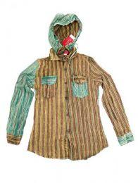 Camisas Hippies M Larga - Camisa de rayas de algodón CLEV07B - Modelo Verde