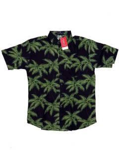 Camisas Hippies M Corta - Camisa de hombre de manga CMEK01 - Modelo Negro