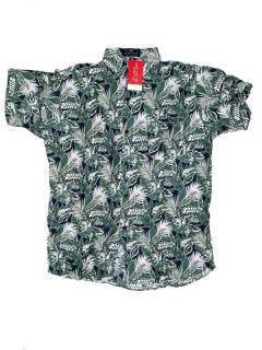 Camisas Hippies M Corta - Camisa de hombre de manga CMEK03 - Modelo Verde