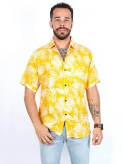 Camisa de rayón con estampados de flores [CMEK10]. Camisas de Manga Corta para comprar al por mayor o detalle  en la categoría de Ropa Hippie y Alternativa para Hombre | ZAS Tienda Hippie.