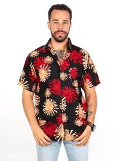 Camicia in rayon con stampe floreali, da acquistare all'ingrosso o dettaglio nella categoria Hippie e Abbigliamento Alternativo per Uomo | ZAS Hippie Store. [CMEK12]