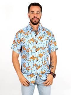 Camicia in rayon con stampe floreali, da acquistare all'ingrosso o dettaglio nella categoria Hippie e Abbigliamento Alternativo per Uomo | ZAS Hippie Store. [CMEK14]