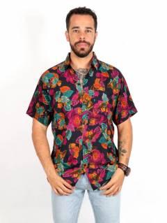 Camicia in rayon con stampe floreali, da acquistare all'ingrosso o dettaglio nella categoria Hippie e Abbigliamento Alternativo per Uomo | ZAS Hippie Store. [CMEK16]