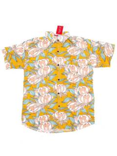 Camisas de Manga Corta - Camisa de hombre de manga CMEK19 - Modelo Amarillo